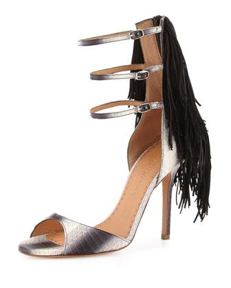 Aurinia Snake Triple-Strap Fringe Sandal, White/Black