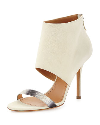 Cyaniris Suede Open-Toe Bootie, Natural/White