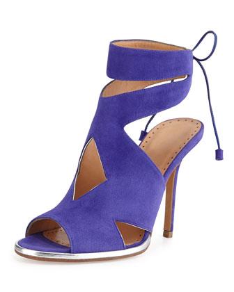 Suede Cutout Ankle-Wrap Sandal, Viola/Silver