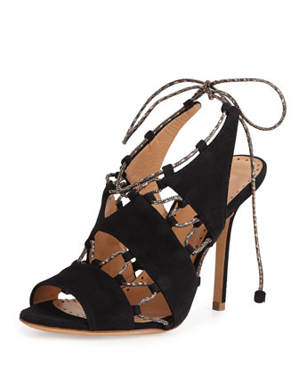 Suede Lace-Up Sandal, Black/Natural