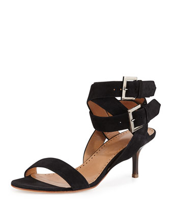 Nell Suede Ankle-Wrap Sandal, Black