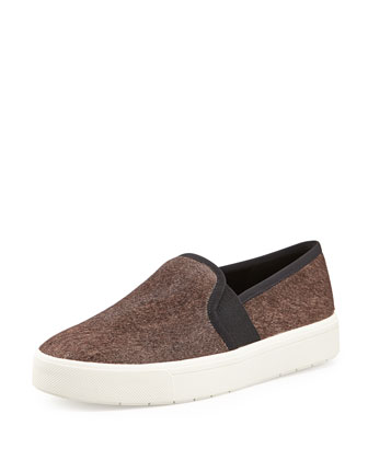 Berlin Calf Hair Slip-On Sneaker, Gray