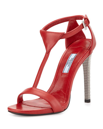 Leather T-Strap Sandal, Rosso