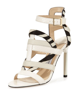 Vanquish Mixed-Media Strappy Sandal, White