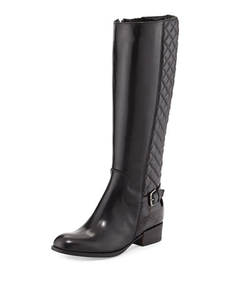 Mamie Quilted Leather Knee Boot, Black