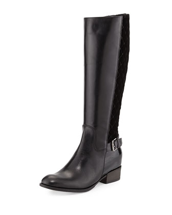 Mamie Quilted Velvet Knee Boot, Black