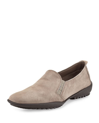 Angy Suede Slip-On Loafer, Taupe