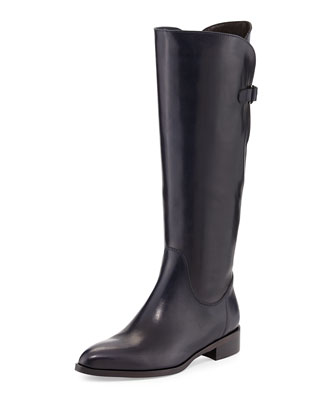 Blondie Leather Riding Boot, Navy