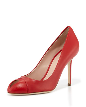 Leather Keyhole Peep-Toe Pump, Red