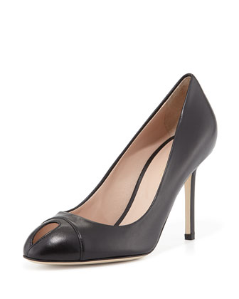 Leather Keyhole Peep-Toe Pump, Black
