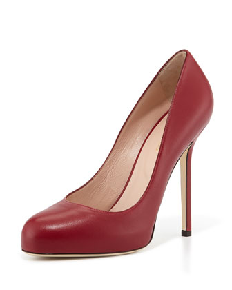 Leather Round-Toe Pump, Burgundy