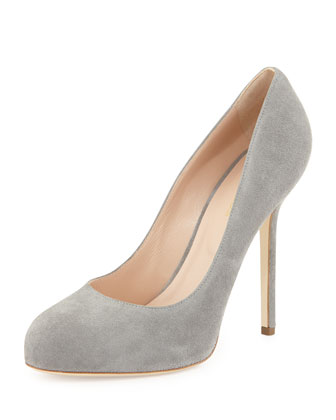 Suede Round-Toe Pump, Gray