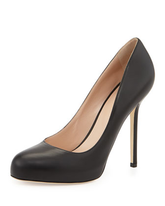 Leather Round-Toe Pump, Black