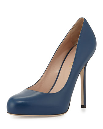 Round-Toe Leather Pump, Blue