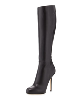 Tall Leather Round Toe Boot, Black