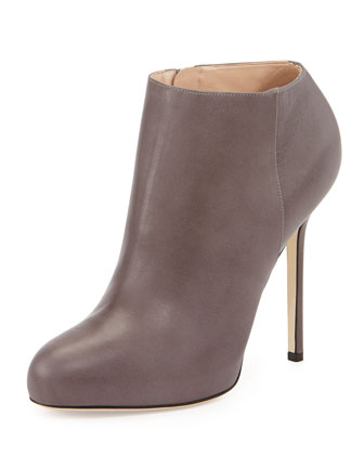 Leather High-Heel Ankle Bootie, Taupe