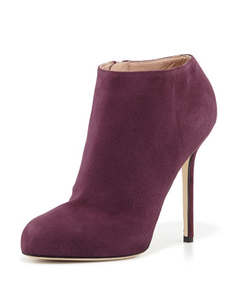 Suede High-Heel Ankle Bootie, Dark Purple