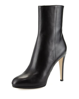 Leather Ankle Boot, Black
