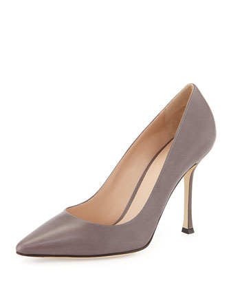 Leather Pointed-Toe Pump, Taupe