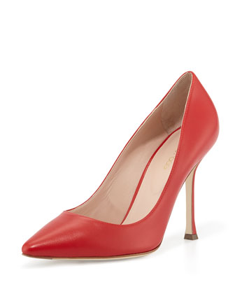 Leather Pointed-Toe Pump, Red