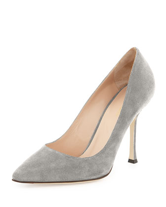 Suede Pointed-Toe Pump, Gray