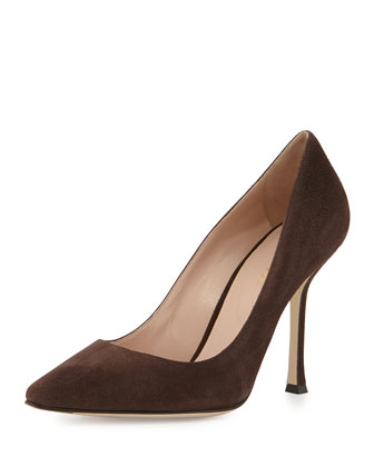Suede Point-Toe Pump, Tan