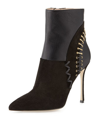 Laced Back Pointed-Toe Bootie, Black