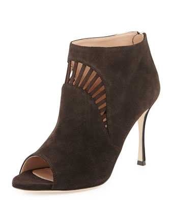 Suede Peep-Toe Bootie, Dark Brown