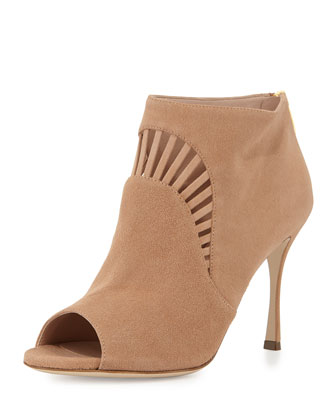 Suede Peep-Toe Bootie, Light Tan