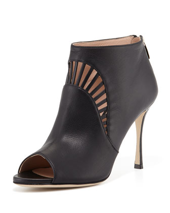 Leather Peep-Toe Bootie, Black