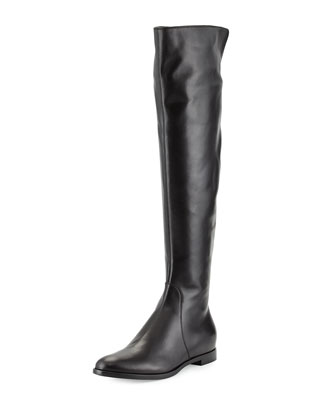Tall Leather Flat Boot, Black