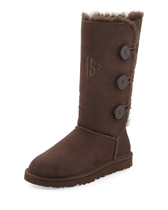 Monogrammed Bailey Button Tall Boot, Chocolate