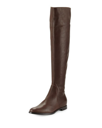 Tall Leather Flat Boot, Dark Brown