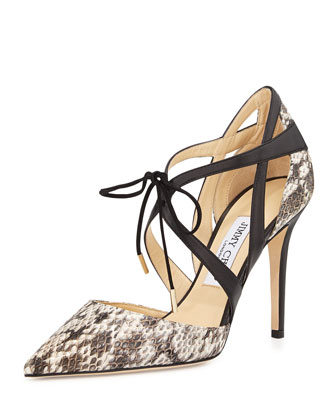 Lapris Snakeskin Ankle-Wrap Pump, Natural/Black