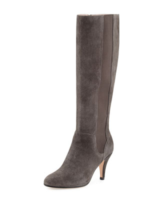 Theresa Suede Stretch Knee Boot, Gray