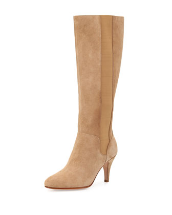 Theresa Suede Stretch Knee Boot, Peanut