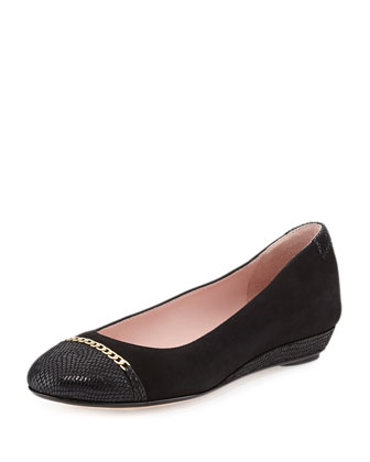 Prosper Cap-Toe Ballerina Wedge, Black