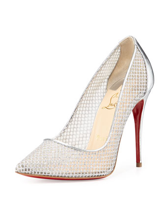 Follies Resille Glitter Fishnet Pump, Silver