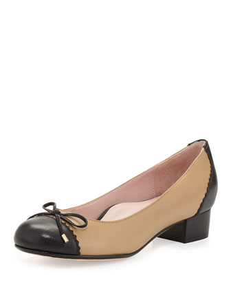 Jerome Nappa Leather Cap-Toe Pump, Natural