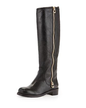 Doreen Leather Zip Knee Boot, Black