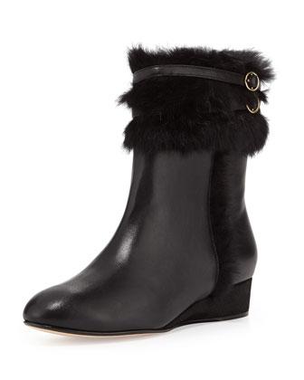 Fizzy Faux-Fur Bootie, Black