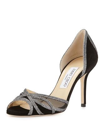 Mustique Glitter-Trim Sandal