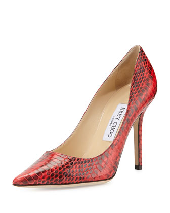 Abel Snakeskin Point-Toe Pump, Fire