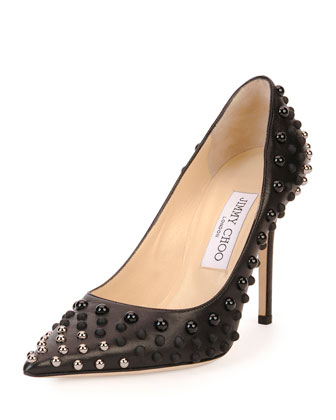 Abel Studded Point-Toe Pump, Black/Silver