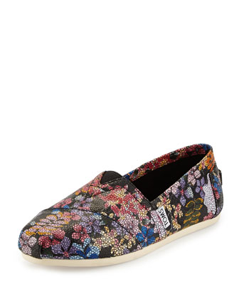 Floral-Print Crackled Slip-On, Black