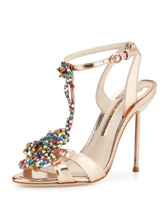Monique Bead-Rose Sandal, Rose Gold