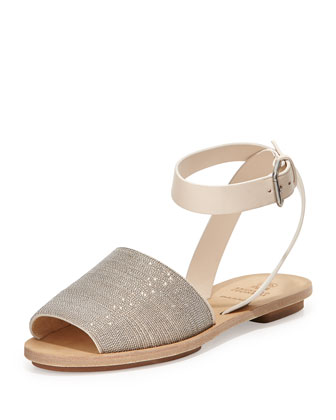 Halter-Wrap Monili Chain Flat Sandal, Vanilla