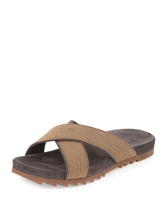 Monilli Leather Flat Slide, Gold