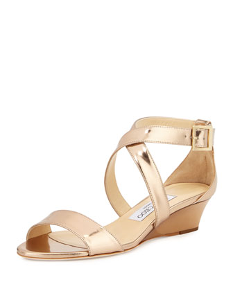 Chiara Metallic Crisscross Demi-Wedge Sandal, Nude