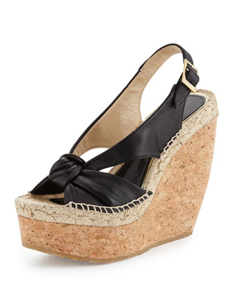 Parisa Espadrille Slingback Wedge, Black